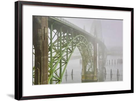 USA, Oregon. Yaquina Bay Bridge in Fog-Jean Carter-Framed Art Print