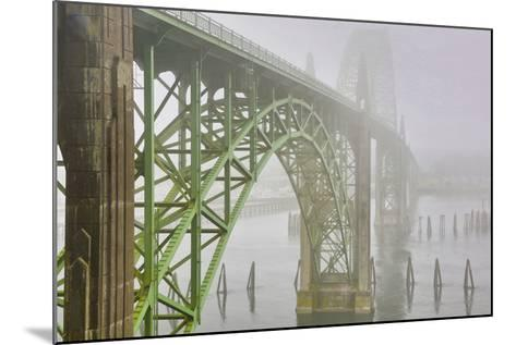USA, Oregon. Yaquina Bay Bridge in Fog-Jean Carter-Mounted Photographic Print