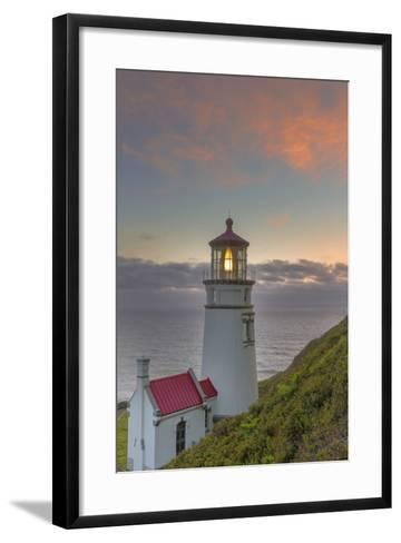 Heceta Head Lighthouse at Sunset Near Florence, Oregon, USA-Chuck Haney-Framed Art Print
