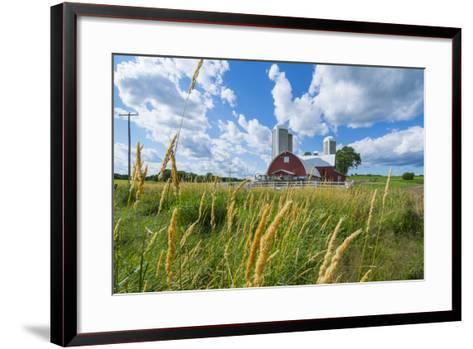 Eau Claire, Wisconsin, Farm and Red Barn in Picturesque Farming Scene-Bill Bachmann-Framed Art Print
