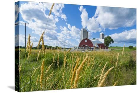 Eau Claire, Wisconsin, Farm and Red Barn in Picturesque Farming Scene-Bill Bachmann-Stretched Canvas Print