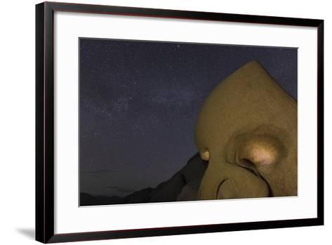 Skull Rock Lit Up at Night in Joshua Tree NP, California, USA-Chuck Haney-Framed Art Print