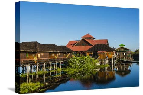 Myanmar. Shan State. Inle Lake. Golden Island Cottages Floating Hotel-Inger Hogstrom-Stretched Canvas Print