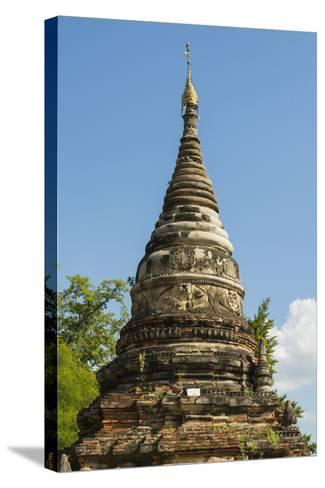 Myanmar. Mandalay. Inwa. Red Brick Stupa-Inger Hogstrom-Stretched Canvas Print