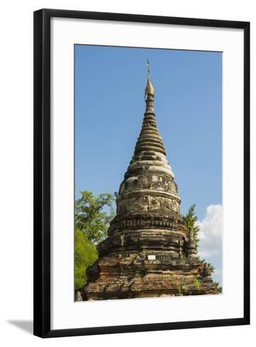 Myanmar. Mandalay. Inwa. Red Brick Stupa-Inger Hogstrom-Framed Art Print