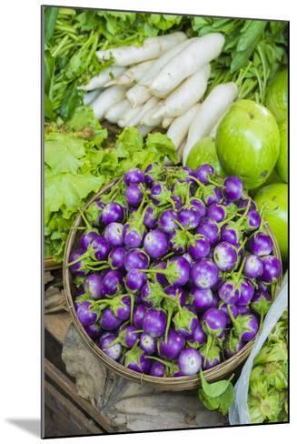 Myanmar. Bagan. Nyaung U. Market. Eggplant for Sale in the Market-Inger Hogstrom-Mounted Photographic Print