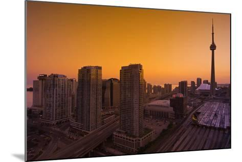 Toronto. City at Dusk with Cn Tower-Mike Grandmaison-Mounted Photographic Print