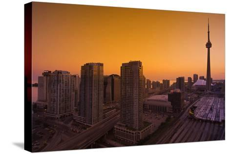 Toronto. City at Dusk with Cn Tower-Mike Grandmaison-Stretched Canvas Print