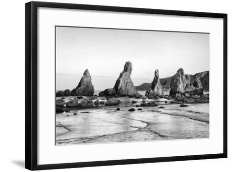 Asia, Japan, Kushimoto. View of Hashigui-Iwa Rocks on Ocean Shore-Dennis Flaherty-Framed Art Print