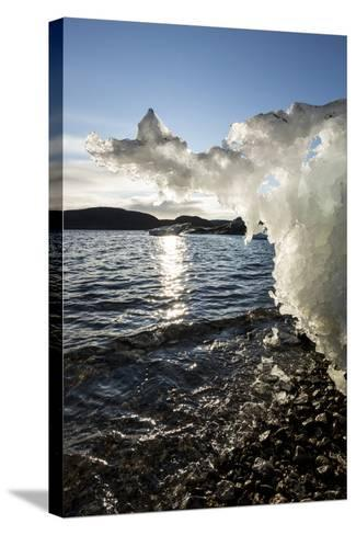 Canada, Nunavut Territory, Sunset Lights Melting Iceberg in Hudson Bay-Paul Souders-Stretched Canvas Print