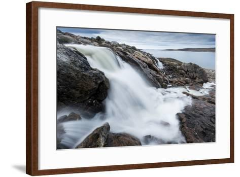 Canada, Nunavut, Territory, Hudson Bay, Blurred Image of Rushing River-Paul Souders-Framed Art Print