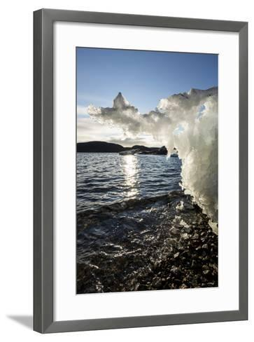 Canada, Nunavut Territory, Sunset Lights Melting Iceberg in Hudson Bay-Paul Souders-Framed Art Print