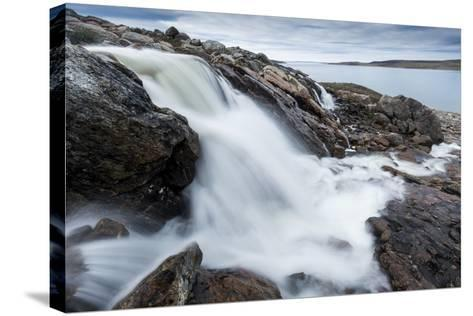Canada, Nunavut, Territory, Hudson Bay, Blurred Image of Rushing River-Paul Souders-Stretched Canvas Print