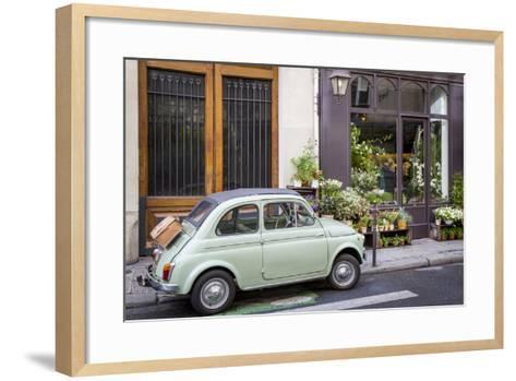 Fiat on the Sidewalk at the Florist Shop, les Marais, Paris, France-Brian Jannsen-Framed Art Print