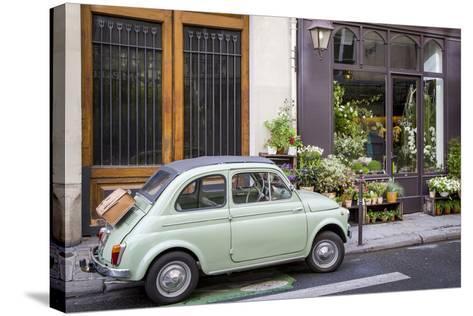 Fiat on the Sidewalk at the Florist Shop, les Marais, Paris, France-Brian Jannsen-Stretched Canvas Print