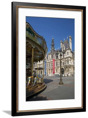 Carousel in the Square Below Hotel de Ville, Paris, France-Brian Jannsen-Framed Art Print