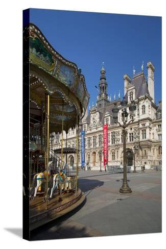 Carousel in the Square Below Hotel de Ville, Paris, France-Brian Jannsen-Stretched Canvas Print