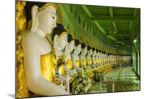 Myanmar. Mandalay. Sagaing Hill. Thirty Caves Temple. Row of Buddhas-Inger Hogstrom-Mounted Photographic Print