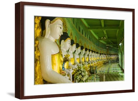 Myanmar. Mandalay. Sagaing Hill. Thirty Caves Temple. Row of Buddhas-Inger Hogstrom-Framed Art Print