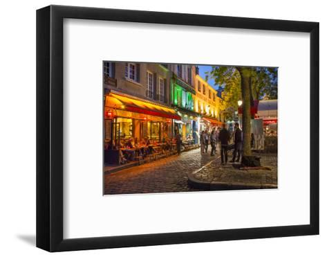 Evening Scene in Place Du Tertre, Montmartre, Paris, France-Brian Jannsen-Framed Art Print