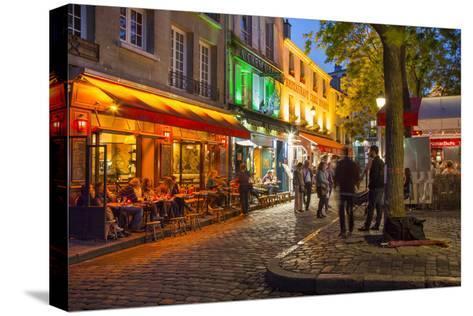 Evening Scene in Place Du Tertre, Montmartre, Paris, France-Brian Jannsen-Stretched Canvas Print