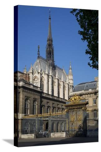 Palais Du Justice with Sainte Chappelle Overhead, Paris, France-Brian Jannsen-Stretched Canvas Print
