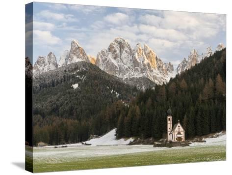 The Church St. John in Ranui, Geisler, Alto Adige, South Tyrol, Italy-Martin Zwick-Stretched Canvas Print