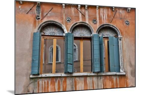 Shuttered Windows in Green, Venice, Italy-Darrell Gulin-Mounted Photographic Print