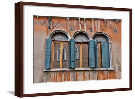 Shuttered Windows in Green, Venice, Italy-Darrell Gulin-Framed Art Print