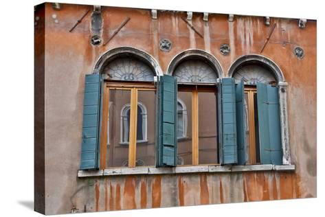 Shuttered Windows in Green, Venice, Italy-Darrell Gulin-Stretched Canvas Print