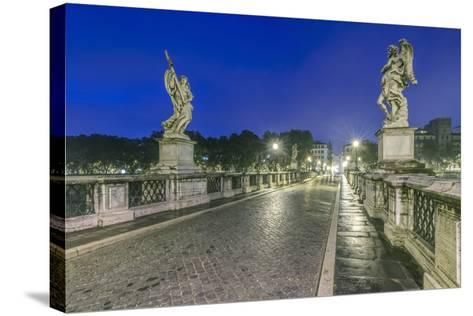 Italy, Rome, Ponte Sant'Angelo at Dawn, also Called St. Peters Bridge-Rob Tilley-Stretched Canvas Print