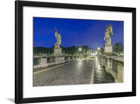 Italy, Rome, Ponte Sant'Angelo at Dawn, also Called St. Peters Bridge-Rob Tilley-Framed Art Print