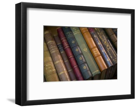 Old French Books at a Bookstore in Galerie Vivienne, Paris, France-Brian Jannsen-Framed Art Print