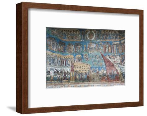 Romania, Voronet, Voronet Monastery, Frescoes Done in Voronet Blue-Walter Bibikow-Framed Art Print