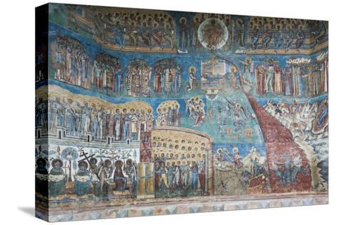 Romania, Voronet, Voronet Monastery, Frescoes Done in Voronet Blue-Walter Bibikow-Stretched Canvas Print