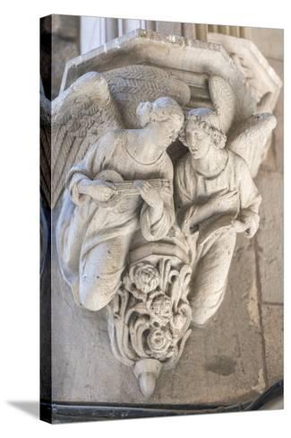 Spain, Barcelona, Stone Carving, Angels-Jim Engelbrecht-Stretched Canvas Print