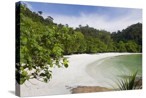 Emerald Bay, Beach and Palm Trees, Palau Pangkor Laut, Malaysia-Peter Adams-Stretched Canvas Print