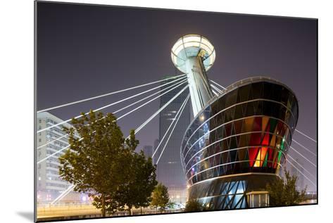 China, Tianjin, Glowing Restaurant Lights at Base of Ligonglou Bridge-Paul Souders-Mounted Photographic Print