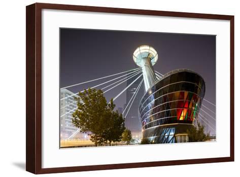 China, Tianjin, Glowing Restaurant Lights at Base of Ligonglou Bridge-Paul Souders-Framed Art Print
