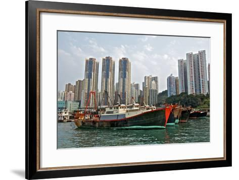 Fishing Trawlers at Anchor in Aberdeen Harbor, Hong Kong-Richard Wright-Framed Art Print