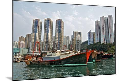 Fishing Trawlers at Anchor in Aberdeen Harbor, Hong Kong-Richard Wright-Mounted Photographic Print