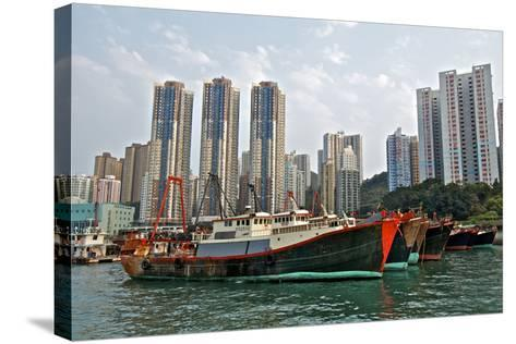 Fishing Trawlers at Anchor in Aberdeen Harbor, Hong Kong-Richard Wright-Stretched Canvas Print