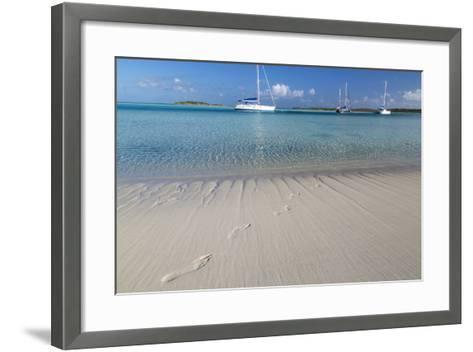 Bahamas, Exuma Island, Cays Land and Sea Park. Footprints and Sailboat-Don Paulson-Framed Art Print