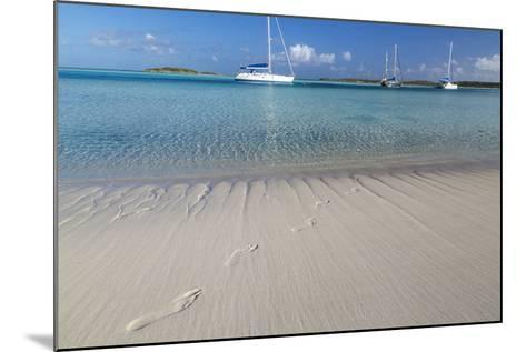 Bahamas, Exuma Island, Cays Land and Sea Park. Footprints and Sailboat-Don Paulson-Mounted Photographic Print