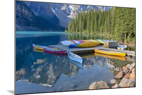 Canada, Banff NP, Valley of the Ten Peaks, Moraine Lake, Canoe Dock-Jamie & Judy Wild-Mounted Photographic Print
