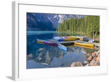Canada, Banff NP, Valley of the Ten Peaks, Moraine Lake, Canoe Dock-Jamie & Judy Wild-Framed Art Print