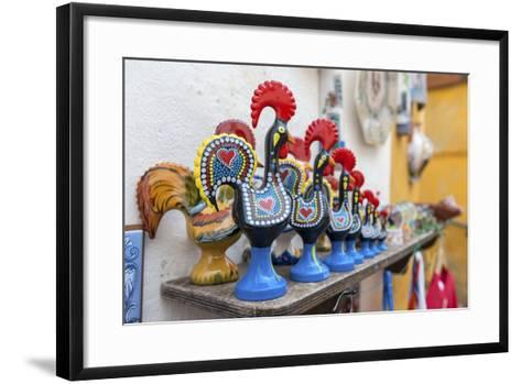 Portugal, Obidos, Traditional Painted Black Roosters-Lisa S^ Engelbrecht-Framed Art Print