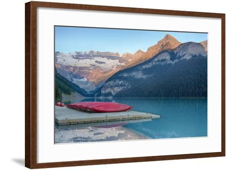 Canada, Banff NP, Lake Louise, Canoes at Boathouse Dock, Mt Victoria-Jamie & Judy Wild-Framed Art Print