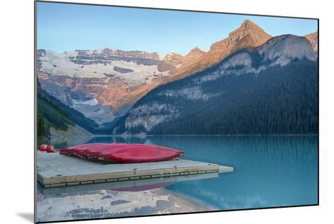 Canada, Banff NP, Lake Louise, Canoes at Boathouse Dock, Mt Victoria-Jamie & Judy Wild-Mounted Photographic Print