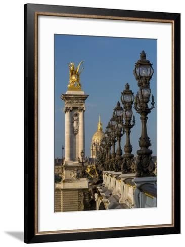 Ornate Pont Alexandre III with Hotel les Invalides, Paris, France-Brian Jannsen-Framed Art Print